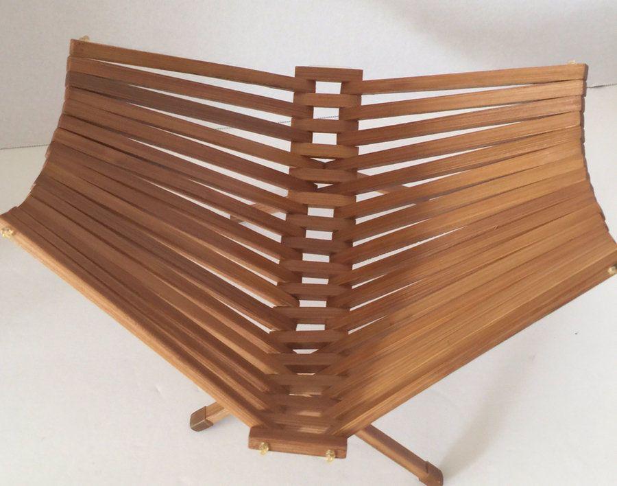 Vintage Mid Century Fruit Basket Folding Collapsible Design Teak