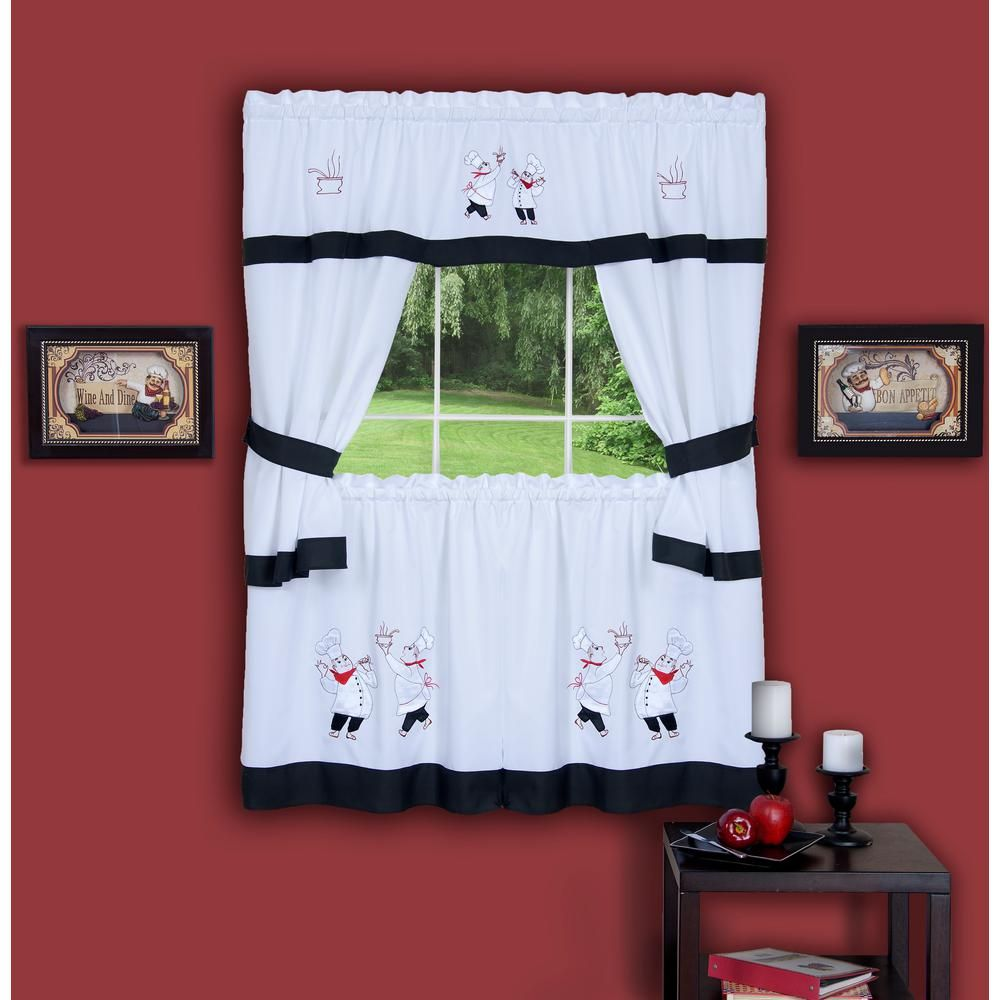 Achim sheer gourmet in l polyester window curtain set in black