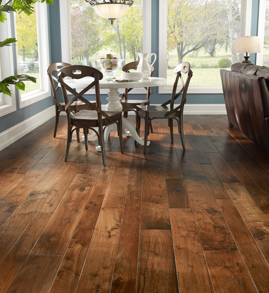 Tuscan Series Walnut Chianti Mixed Width Engineered Handscraped Hardwood Floor 9 16 X 4 1 Walnut Hardwood Flooring Wood Floors Wide Plank Rustic Flooring