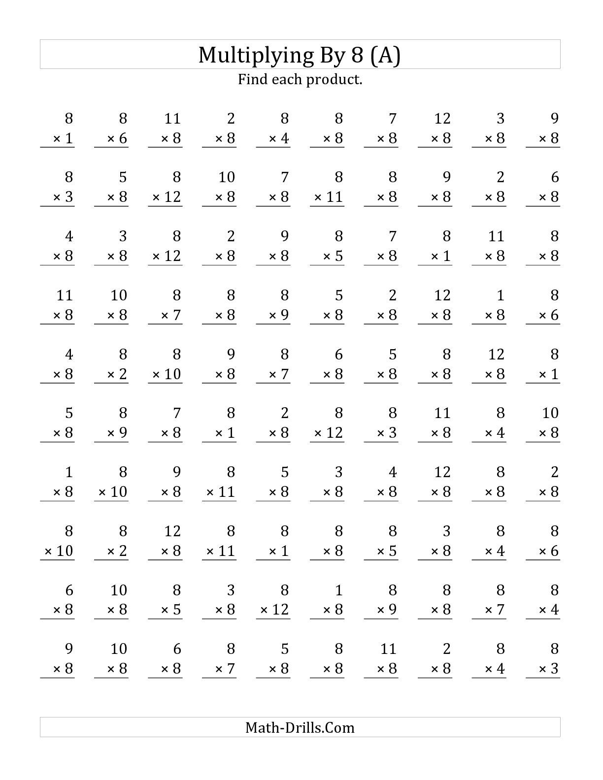 Worksheets Math Multiplication Worksheets the multiplying 1 to 12 by 8 a math worksheet from multiplication page at drills com