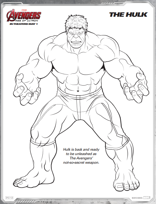 Avengers Age of Ultron Free Printable Coloring Pages Hulk avengers