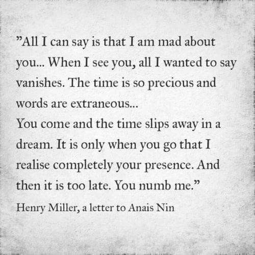 Henry Miller To Anais Nin | Love Quotes ❤ | Pinterest | Anais Nin, Henry  Miller And Thoughts