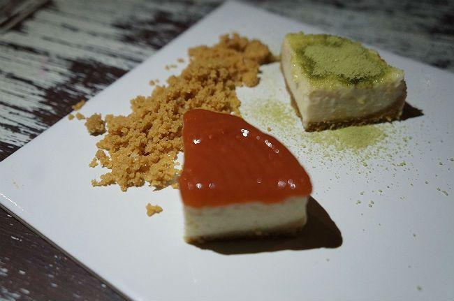 Cheesecake dueto de chá verde japonês e goiabada cascão de Minas Gerais. Farofinha crumble completa a perdição