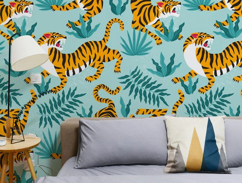 Grunge Tiger Peel and Stick Wallpaper Removable