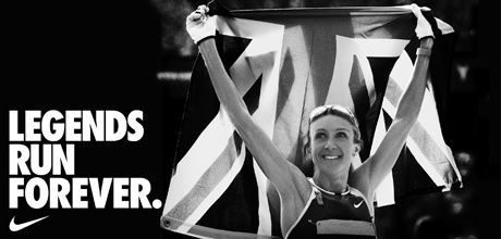 "This advert has a general audience and mainly uses the slogan and the athlete to advertise the brand. The female athlete holding up the flag, is colored in gray scale to give a calmer and cooler look to the image, so that the audience perceives it as a moment in history. The slogan is used to back this image up, and let the audience know that the company helps athletes ""Run"", turning them into legends."