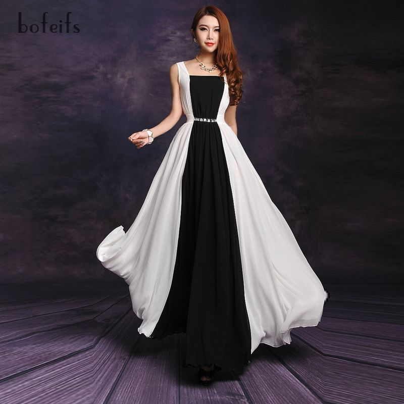 2013 summer fashion black and white patchwork chiffon long dress ...