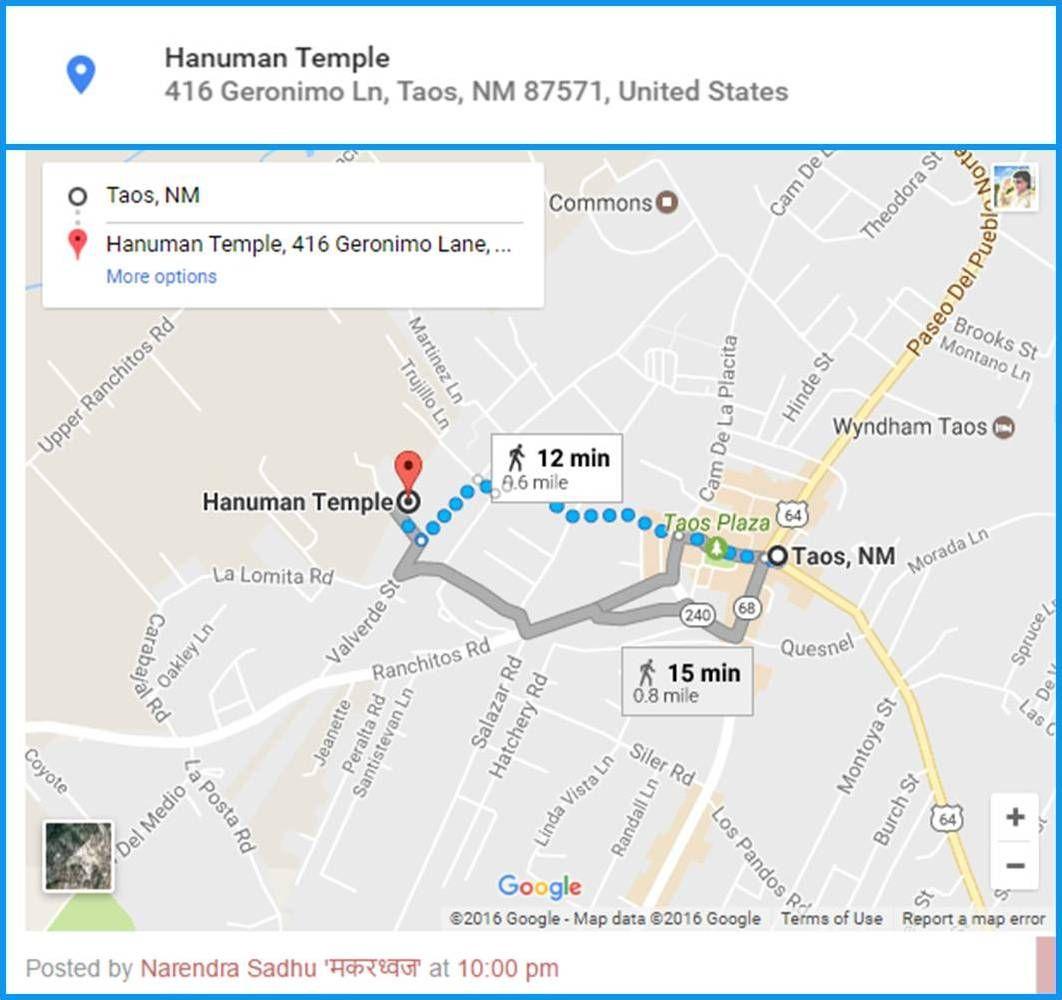 Google Map And Address Is Created For Hanuman Temple Neem Karoli - Where was geronimo on a us map
