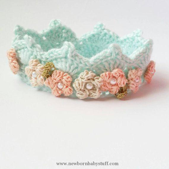 Crochet Baby Dress Crochet Crown in Mint with Flower Detail // Size ...