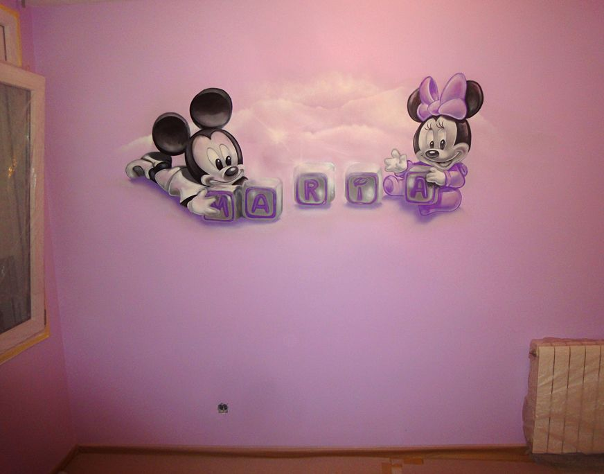 Dibujo de mickey mouse y minnie beb s en pared habitaci n for Habitacion dibujo