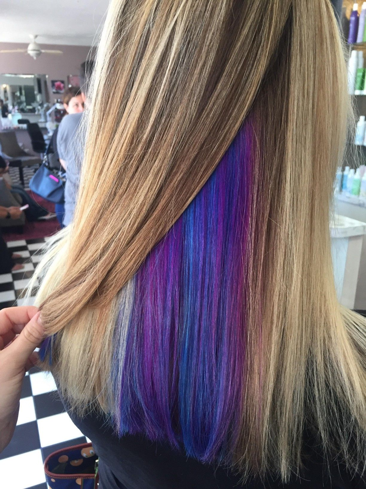 Peekaboo Purple Blue Highlights Peekaboo Hair Purple Hair Highlights Dark Hair With Highlights