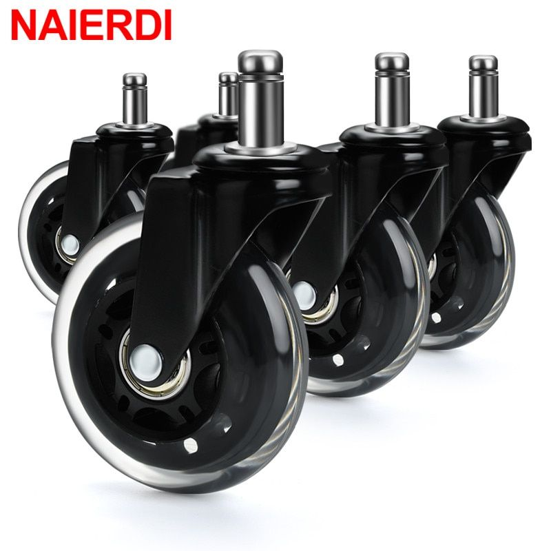 Naierdi 5pcs Office Chair Caster Wheels 3 Inch Swivel Rubber