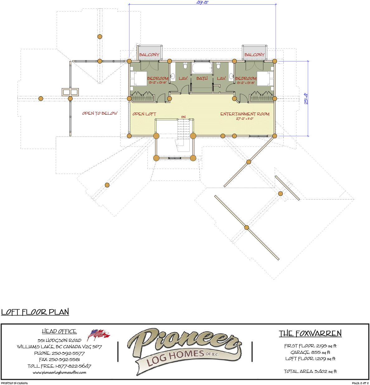 Fox Warren Pioneer Log Homes Midwest Log Home Floor Plans Log Homes Loft Flooring