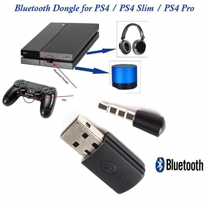 Bluetooth Dongle For Wireless Headphone Speaker With Mic Adapter For Ps4 Ps4 Pro Ps4 Slim Console Progaminghe Bluetooth Dongle Ps4 Headset Wireless Headphones