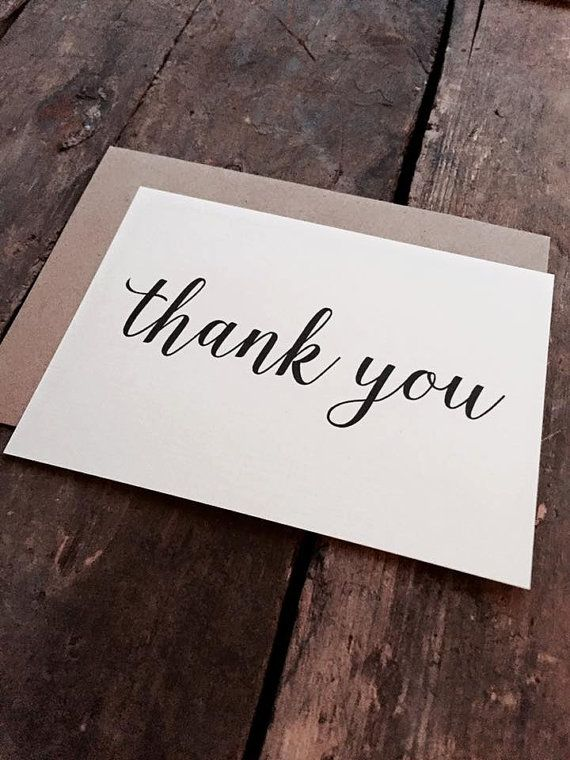 Modern calligraphy thank you cards with envelopes