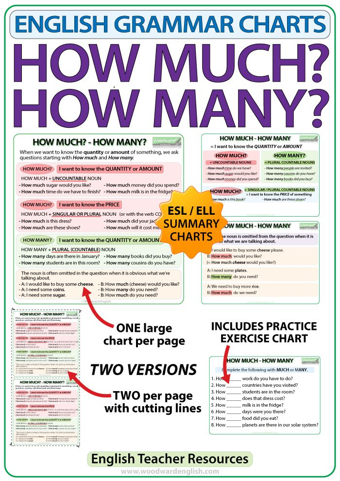 How Much How Many English Grammar Charts Inglés