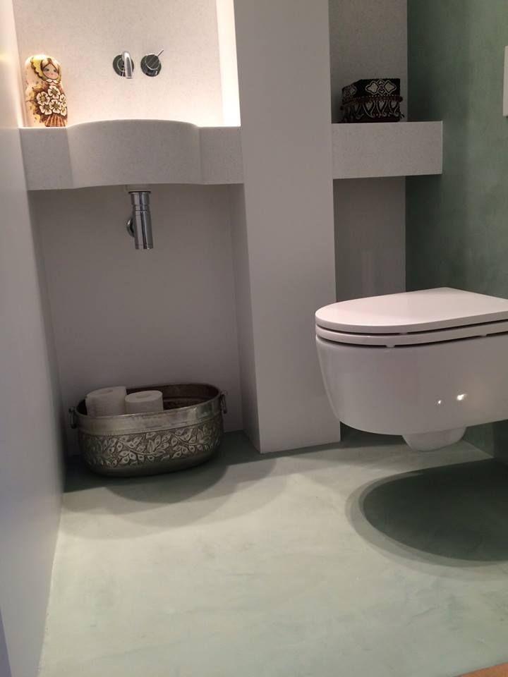 Béton Ciré Pro Original in badkamer en toilet in de kleuren Nijl 14 ...