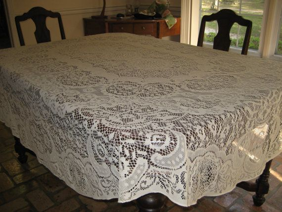 OVAL Ivory Lace Tablecloth Large 90 X 74 Holiday By MercyMaud, $30.00