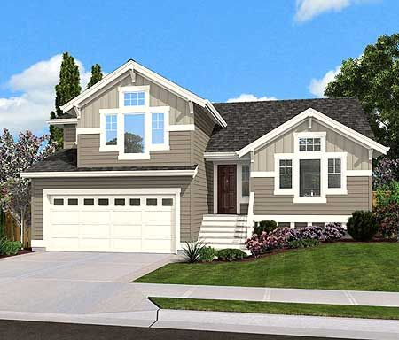 Home entrance decor. Plan 23444JD  Split Level Home Plan for Narrow Lot   Home