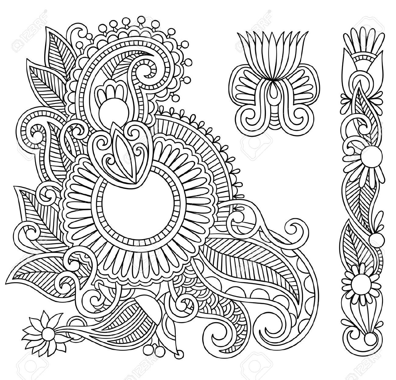 11189567 Hand Drawn Abstract Henna Mehndi Black Flowers Doodle Illustration Design Element Stock V Henna Designs Drawing Henna Drawings Paisley Coloring Pages