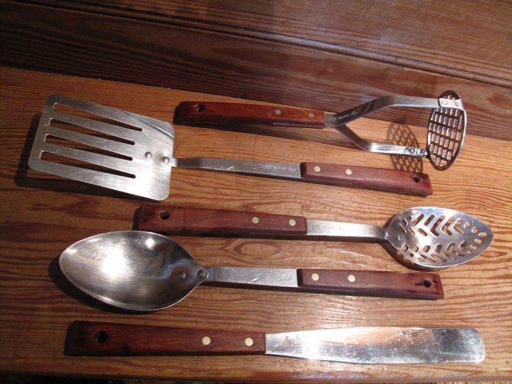 Prestige Vintage Retro Kitchen Cooking Utensils Wooden Handle Vgc