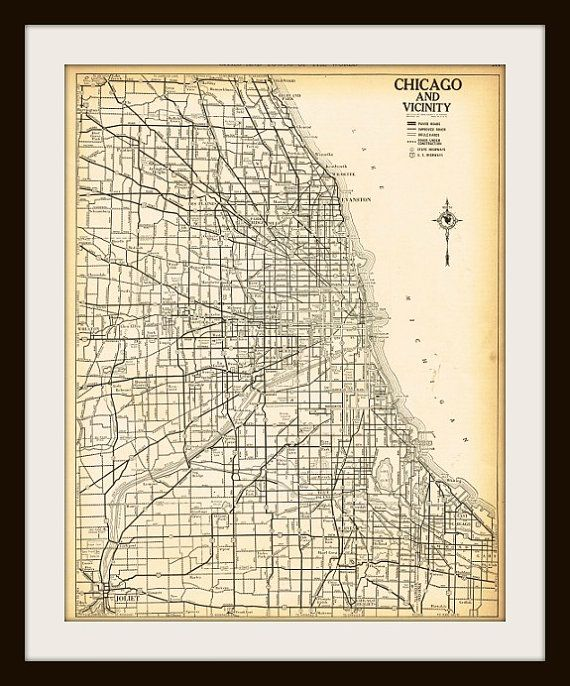 Antique Map CHICAGO ILLINOIS Map Page Buy Maps Get FREE - Where to buy antique maps