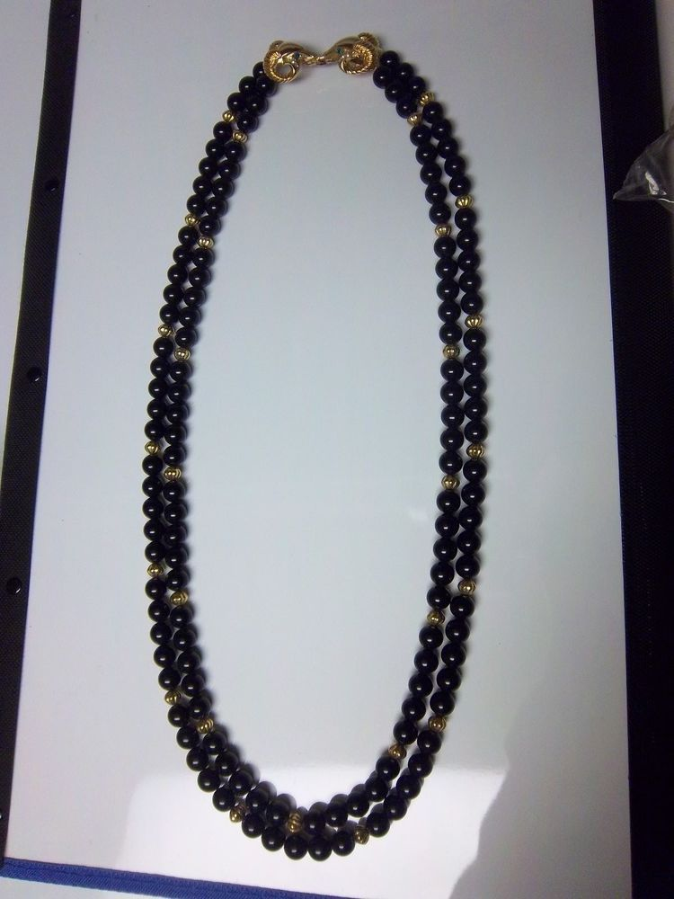 Vintage double strand KJL Kenneth J Lane Rams Head Black Necklace 105g #KennethJayLane