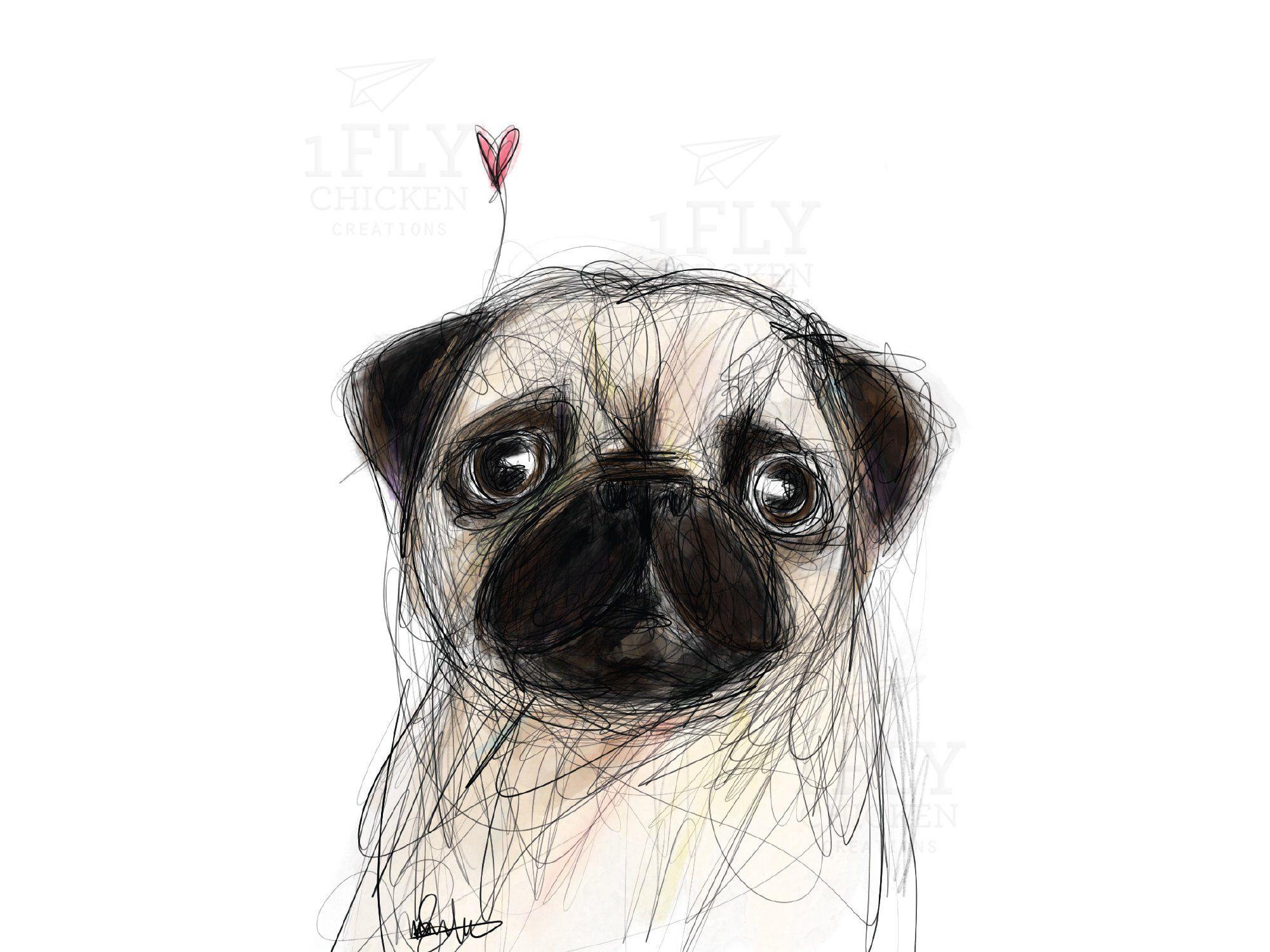 Pug Love Card Printable Pug Dog Greeting Card Watercolor Pug Art