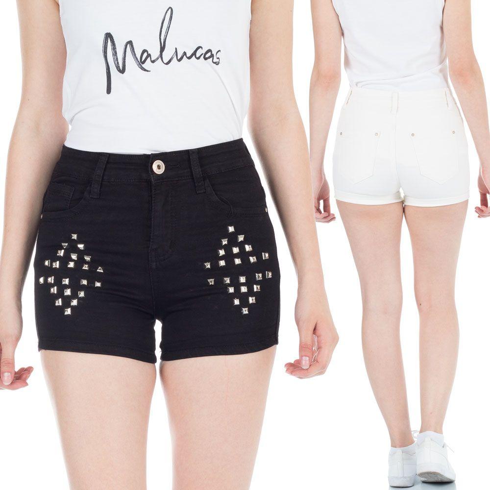 Damen Jeans Shorts Kurze Hose Destroyed Hotpants mit Hohem Bund und Nieten