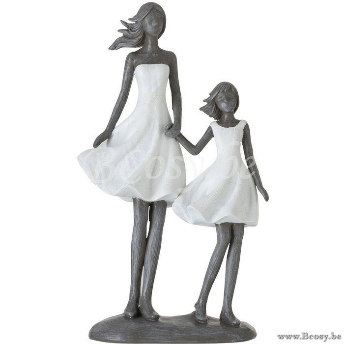 J Line Beeld Moeder Met Kind Poly Wit Grijs 25h Jline By Jolipa 95538 Beeldjes Figurines Statuettes Figures Statues Figure Beelden Beeldjes Grijs Figuurlijk