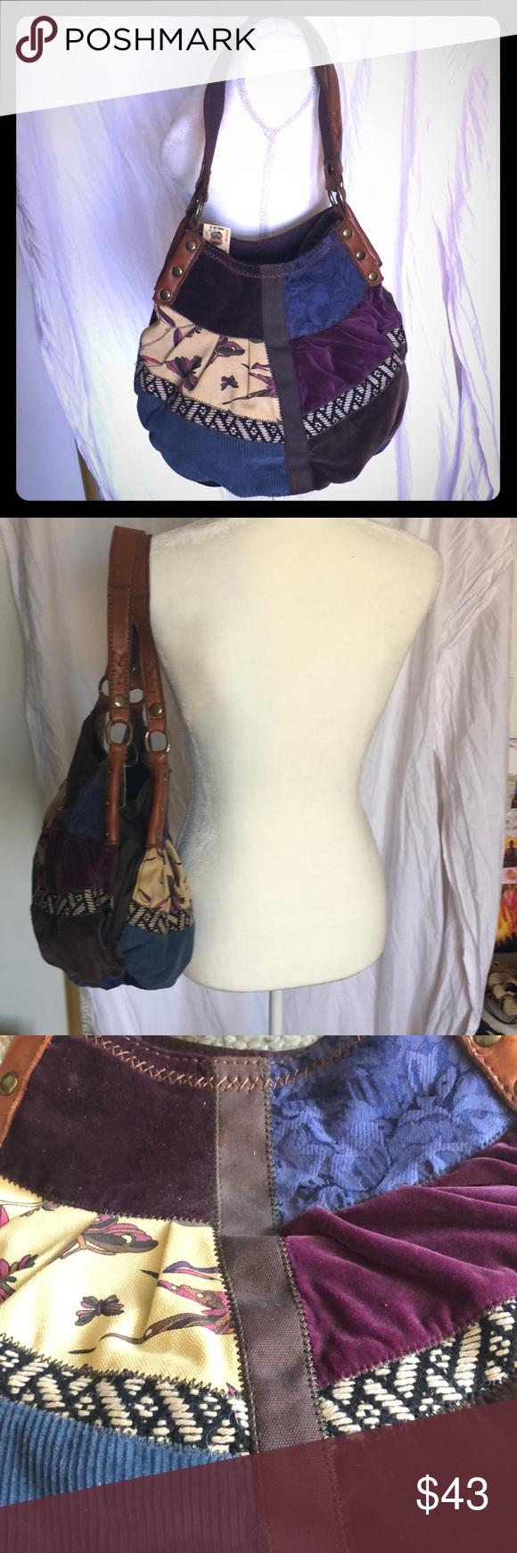 NWT Lucky Brand Velvet and Leather Hobo Bag This NWT Lucky Brand hobo bag  contains little 2697d47ab4939