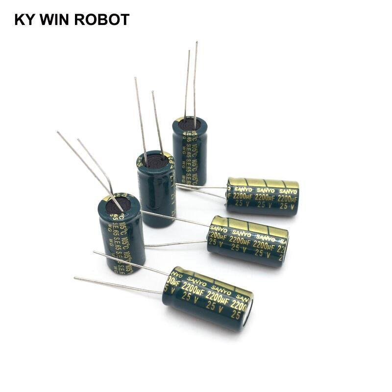 10 Pcs Aluminum Electrolytic Capacitor 2200 Uf 25 V 10 20 Mm Frekuensi Tinggi Radial Electrolytic Kapasitor