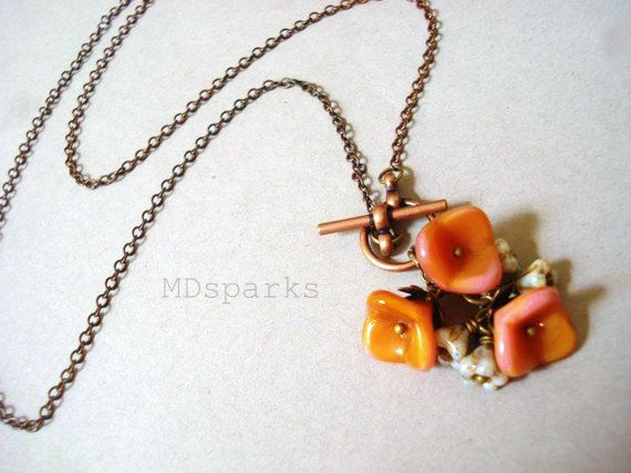Pink Rose Lariat Necklace by MDsparks on Etsy, $18.00