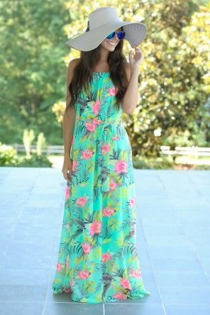 Island In The Sun Maxi Dress-Seafoam