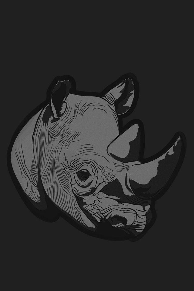thoughtful rhino dark minimal illust art iphone 4s wallpaper