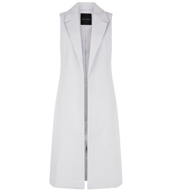 grauer langer mantel ohne rmel new look insp fashion pinterest langer mantel rmel und. Black Bedroom Furniture Sets. Home Design Ideas