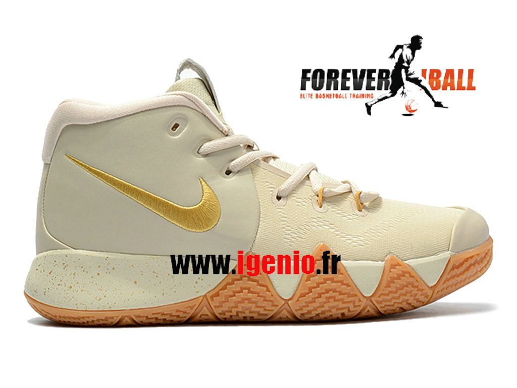 best service 1bebf 50f48 Nike Kyrie 4 - Chaussures de BasketBall Pas Cher Homme Riz Gris Or  943806 ID109-