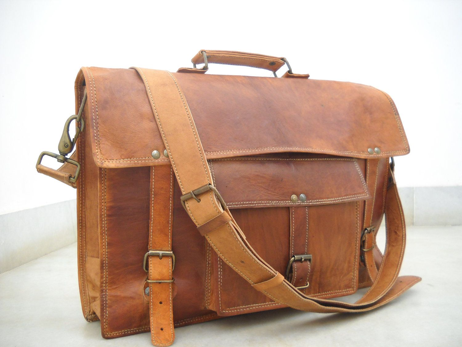 Leather Messenger Bag Office bag Laptop Bag 17 Inches Long 13 Inches Height. $94.00, via Etsy.