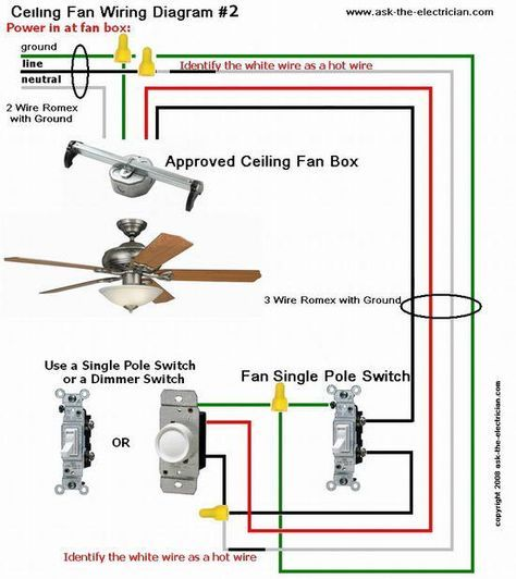Ceiling fan wiring diagram2 electrical pinterest ceiling full color ceiling fan wiring diagram shows the wiring connections to the fan and the wall switches asfbconference2016 Images