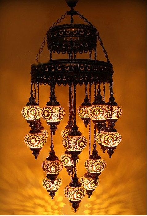 19 Ball 110 230v Extra Large Turkish Moroccan Hanging Glass Mosaic Chandelier Lamp Lighting Mosaic Lamp Turkish Lamps Mosaic