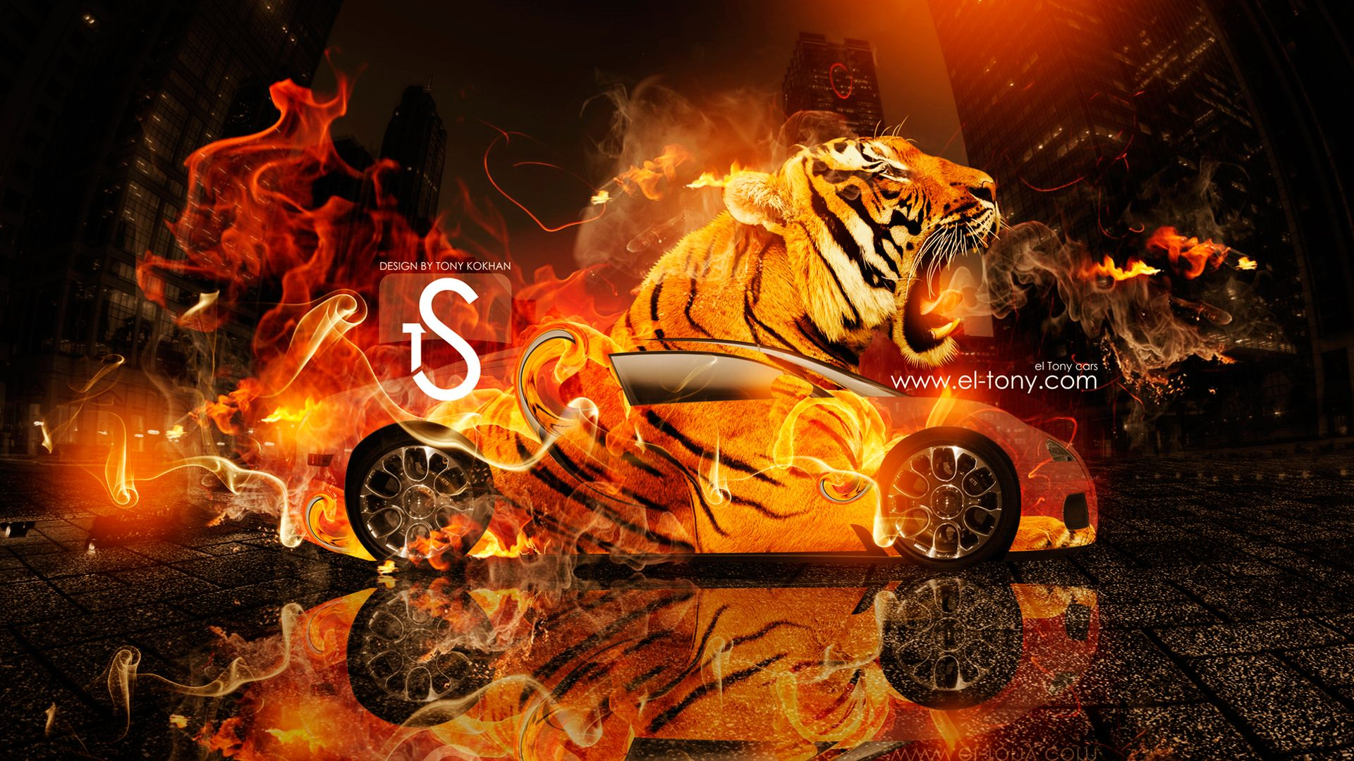 Tiger With Blue Fire Bugatti Veyron