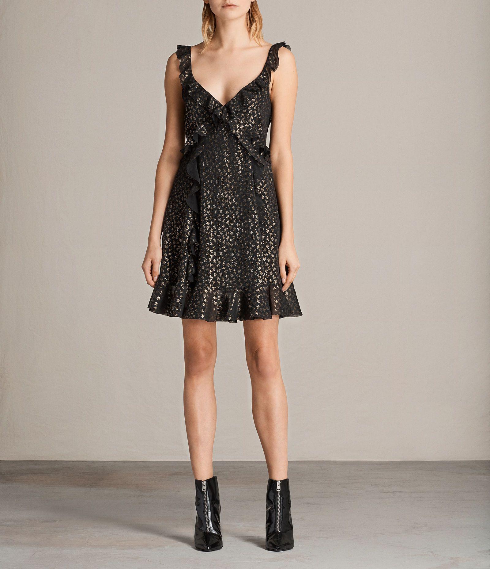 3fa45602929f ALLSAINTS UK: Womens Darell Ruffle Dress (BLACK/GOLD) | šití - šaty ...