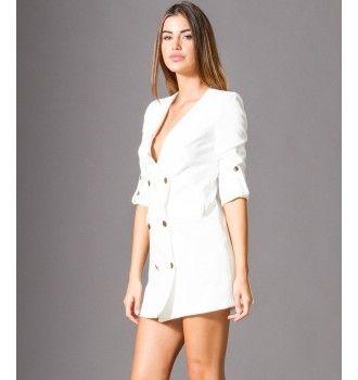 Σακάκι Μίνι Φόρεμα με Χρυσά Κουμπιά - Λευκό  06877870714