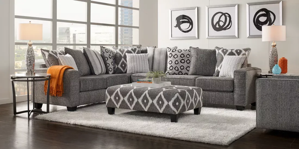 Carole Court Gray 2 Pc Sectional Rooms To Go Living Room Sectional Living Room Sets