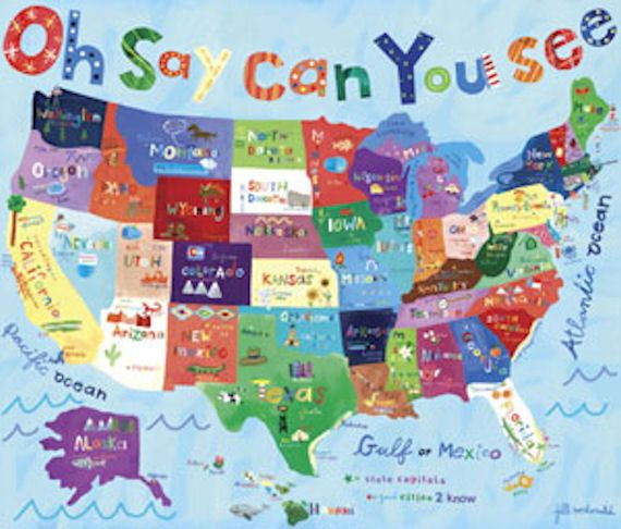 USA Map Art Oh Say Can You See USA Map Wall Art Wall Sticker - Us map wall decor