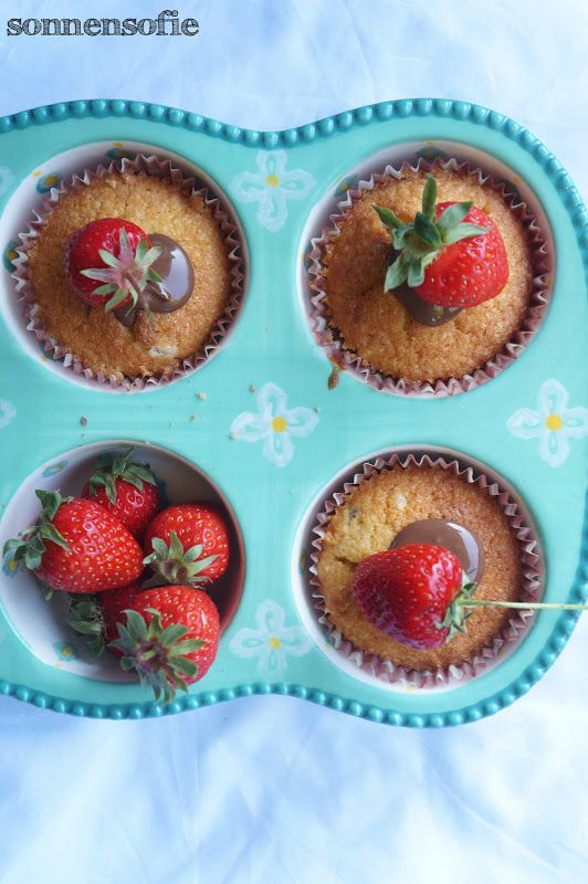 summer muffins with strawberries for afternoon tea