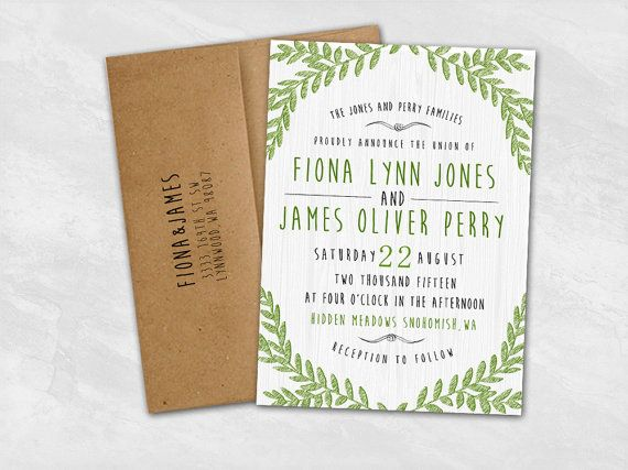 Nature Wedding InvitationRSVP Set Sage by WildHeartPaper on Etsy