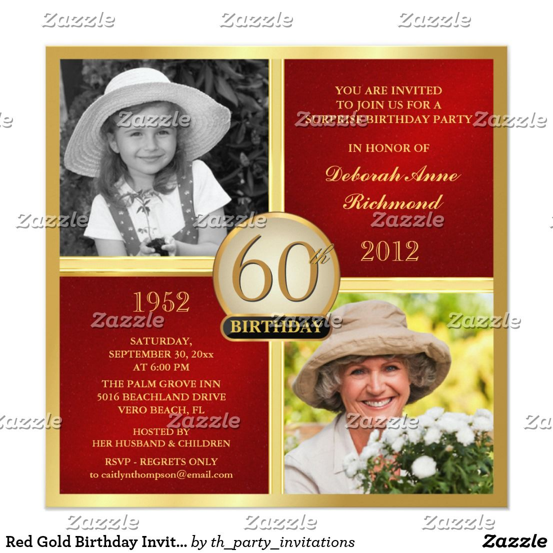 Red Gold Birthday Invitations Then & Now 2 Photos | Pinterest ...