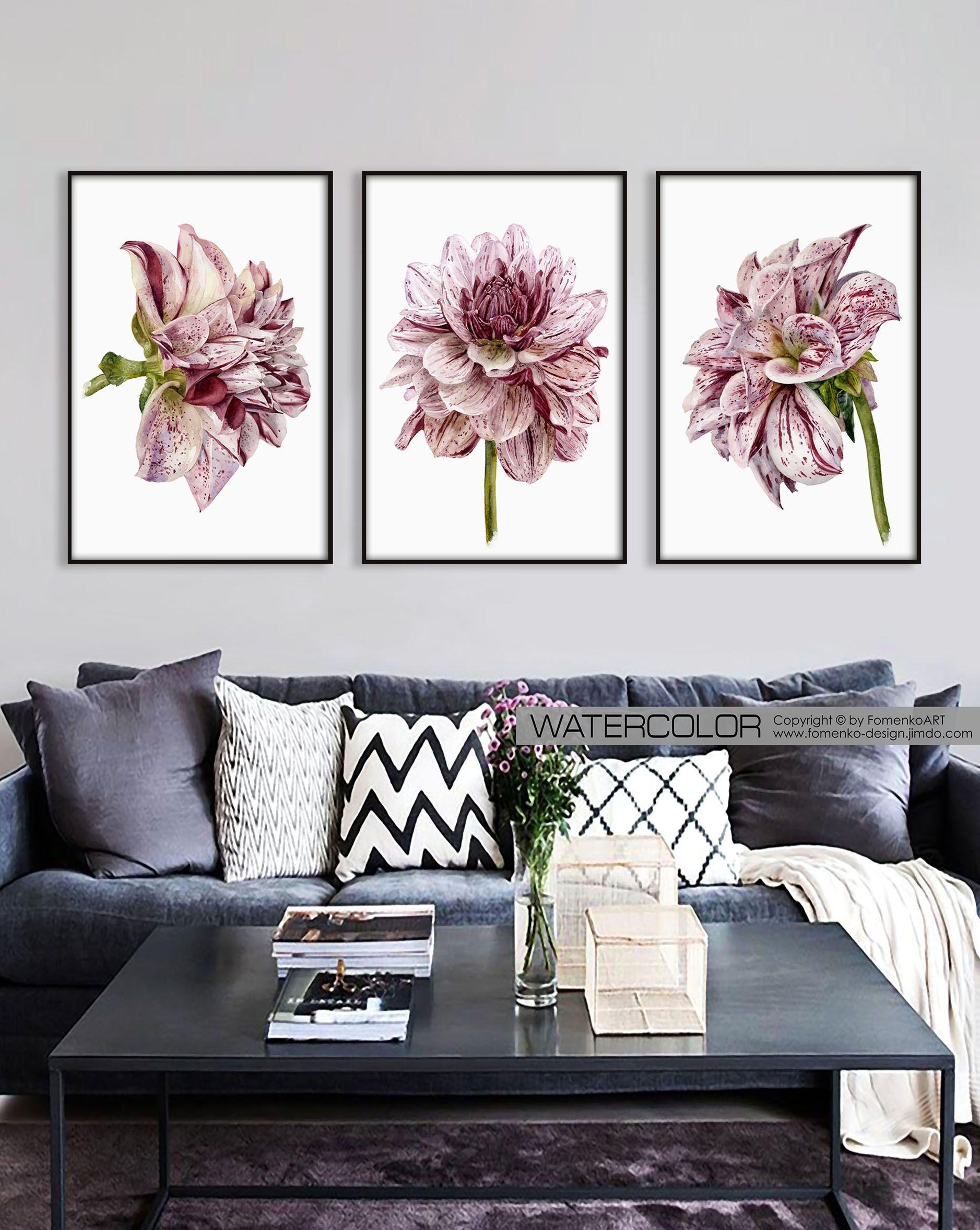 Printable Wall Art Set Of 3 Flower Print Large Prints Bedroom