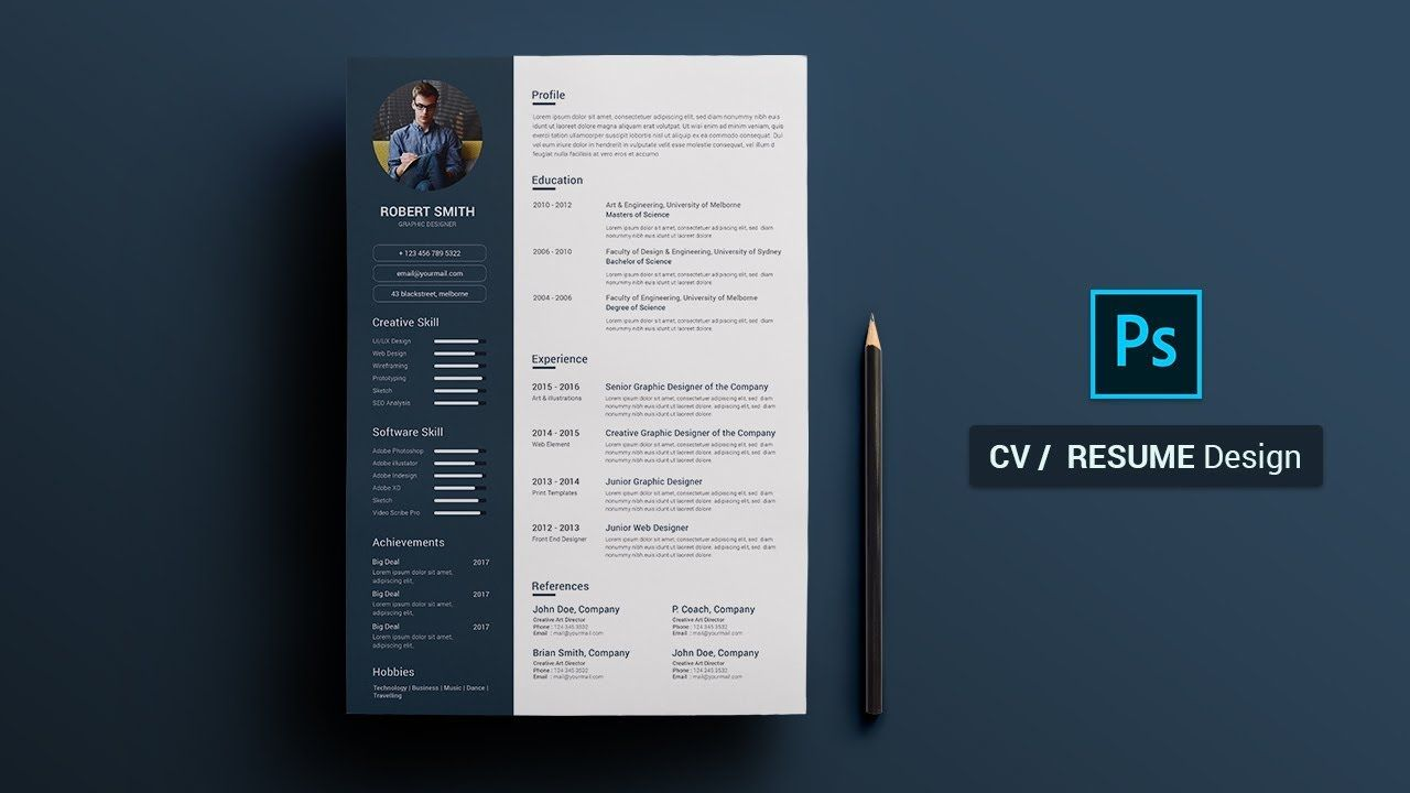 How To Create A Cv Resume Template In Photoshop Photoshop Tutorial Resume Design Resume Design Free Cv Resume Template