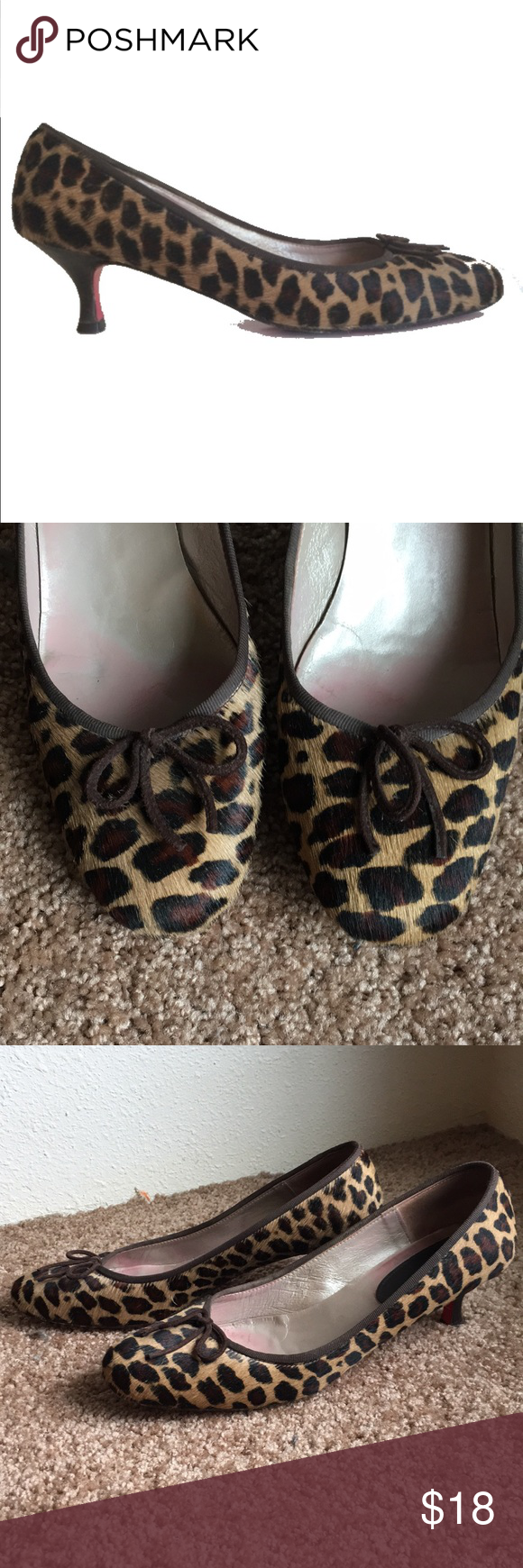 4077e36dd0da Boden Leopard Print Ponyhair kitten heels, sz 41 Worn, but still lots of  life